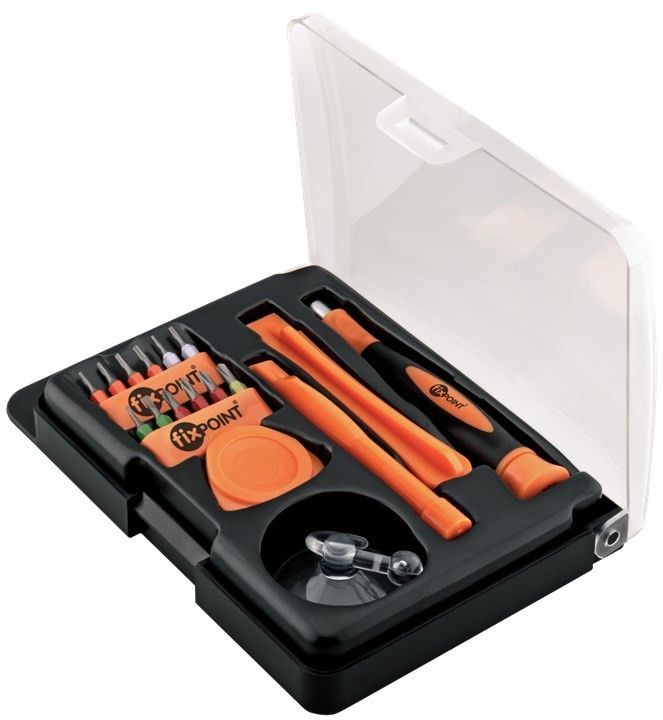 Fixpoint 17 pcs. smartphone tool set, Flap-over Blister - made by high grade S2 tool-steel